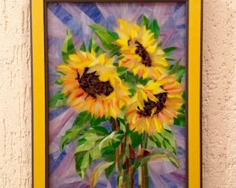Sunflowers on purplish background