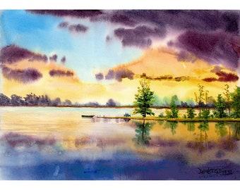 Aquarelle paysage peinture Print lac amoureux au coucher de soleil bateau réflexions giclée Reproduction 7 x 10