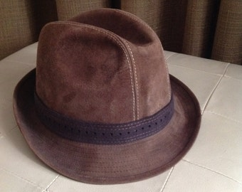Suede Fedora Hat Brown Leather Mens Large Size 59