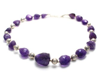 925 sterling silver necklace made of faceted amethyst stones