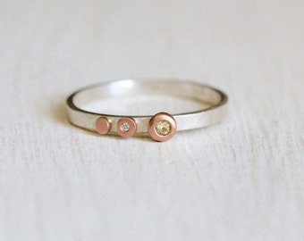 Yellow Sapphire and Moissanite Ring in Recycled Silver with Rose Gold Dots Ring Size 7.75
