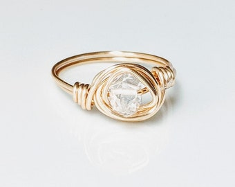 Gold ring //Herkimer diamond ring // Gold plated ring // Gold Herkimer ring // Herkimer jewelry // Gold Wire wrapped ring