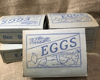 Egg Cartons Cardboard Containers Dozen Eggs Chickens Farmhouse Vintage Decor Easter Decorations Kitchen Cafe Farming Poultry Barn Shed