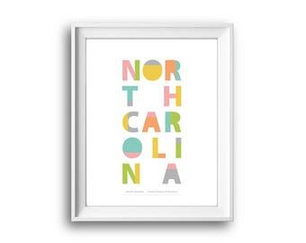 North Carolina,United States of America,North Carolina print,Printable,Instant Download,North Carolina Gift,50 States USA,Home decor,Design