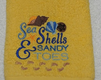 Embroidered Towel with summer theme