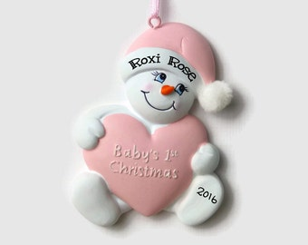 Snowbaby Personalized Ornament - Baby Girl Snowman - Baby's First Christmas - Hand Personalized Christmas Ornament
