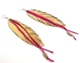 Feather Earrings, Leather Earrings, Boho Earrings, Gypsy Earrings, Boho Bride, Hippie Earrings, Bridal Earrings, Boho, Pink, Fringe