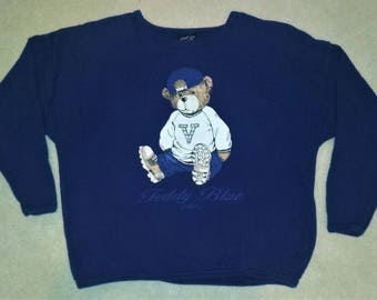 Vintage 90s Graphic Teddy Bear Long Sleeve Shirt Navy Blue One Size