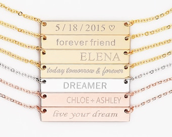 Personalized Bar Necklace, Coordinate necklace,Bridesmaid Gift,custom name necklace,gold bar necklace,bar necklace personalized bar necklace