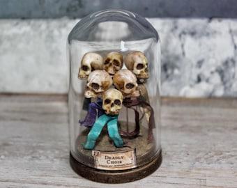 Skull Pins - 6 Head Pins - Miniature - Miniature Skulls - Curiosity Cabinets - Home Decor - 1.57 inches / 4 cm Height