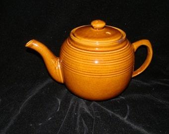 Vintage, Taiwan, Ceramic, Caramel Brown, Ringed, 7 Cup, Coffee/Teapot