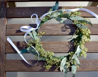 "The ""Sienna"" floral halo crown // fresh flower, eucalyptus, flower crown, bridal crown, wedding headpiece, woodland wedding, woodsy halo"