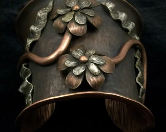 A Garden of Two- Fabricated Copper and Sterling Silver Flower Cuff Bracelet