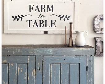 Farm to Table Kitchen Sign- IN STOCK- Salvaged Cupboard Door- Typography Sign- 90 year old WI Cottage Door