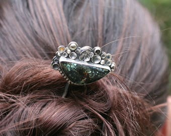 Snowville Variscite silver hair fork with yellow garnet, peridot, black spinel, and blue topaz. Sterling hair fork, gemstone hair jewelry