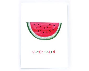 Archival Digital Print Acrylic Collage Illustration - Watermelon