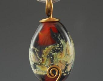 Glass Pendant, Brown Organic, Artisan Glass Bead, Necklace, Tammie Mabe, Wire Wrapped, Brass Wire, Handmade, Artisan Jewelry, USA, Lampwork