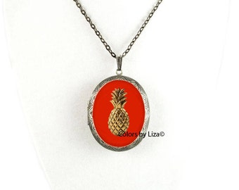 Pineapple Pill Box Necklace Inlaid in Hand Painted Orange Enamel Antique Silver Oval Locket Necklace with Color and Personalized Options