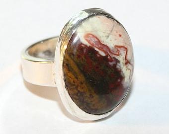 Cabochon Ring Covelo Creek Jasper Size 8 1/2