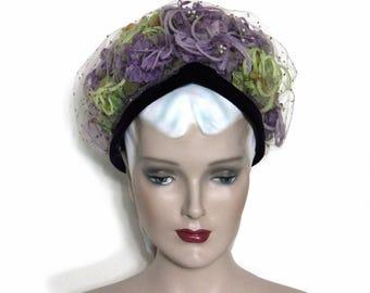 Vintage Hat// 1950's //  Netting // Pillbox Hat //  Purple //  Green // Velvet Trim // Garden Party // Floral // 50s hat