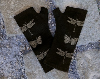 Merino wool fingerless gloves - black, printed with dragonfly and butterfly screen print B055