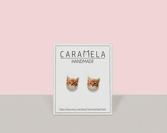 Cat stud earrings Kitty stud earrings Post earrings Pet earrings Cat post GIFT for her