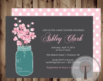 BABY GIRL Baby Shower Invitation, cherry blossoms baby shower, baby shower invite, mason jar baby shower,flowers, cherry blossoms