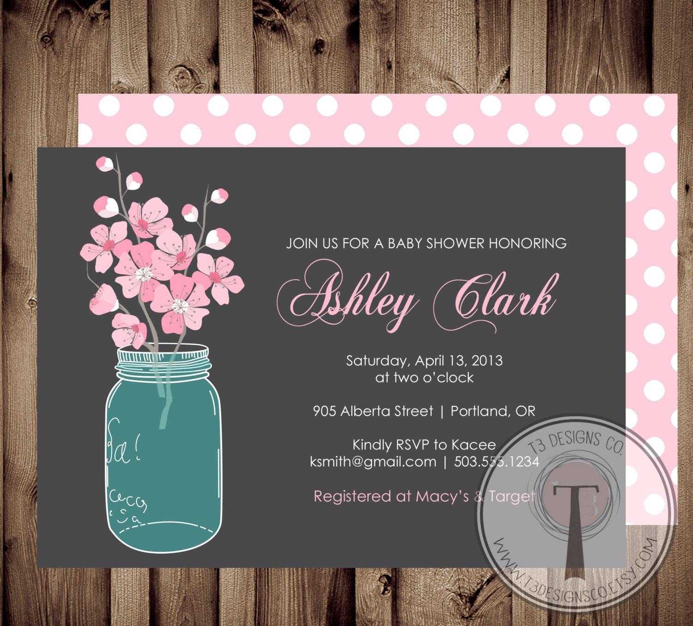 BABY GIRL Baby Shower Invitation, cherry blossoms baby shower, baby ...