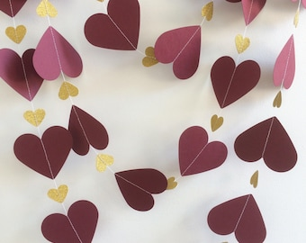 Burgundy and Gold heart garland, Decoration, Parties, Weddings, Celebrations