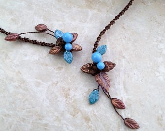 Chocolate Brown & Turquoise Torc Necklace ~ Fairy Torc Collar Necklace ~ Statement Necklace