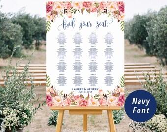 Burgundy Floral Gold Wedding Seating Chart Template Printable