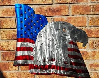 America.  Bald Eagle American Flag Metal.  Candy Red Blue Painted Flag Waving Eagle Wall Hanging Art. Star spangled banner Patriot Decor.