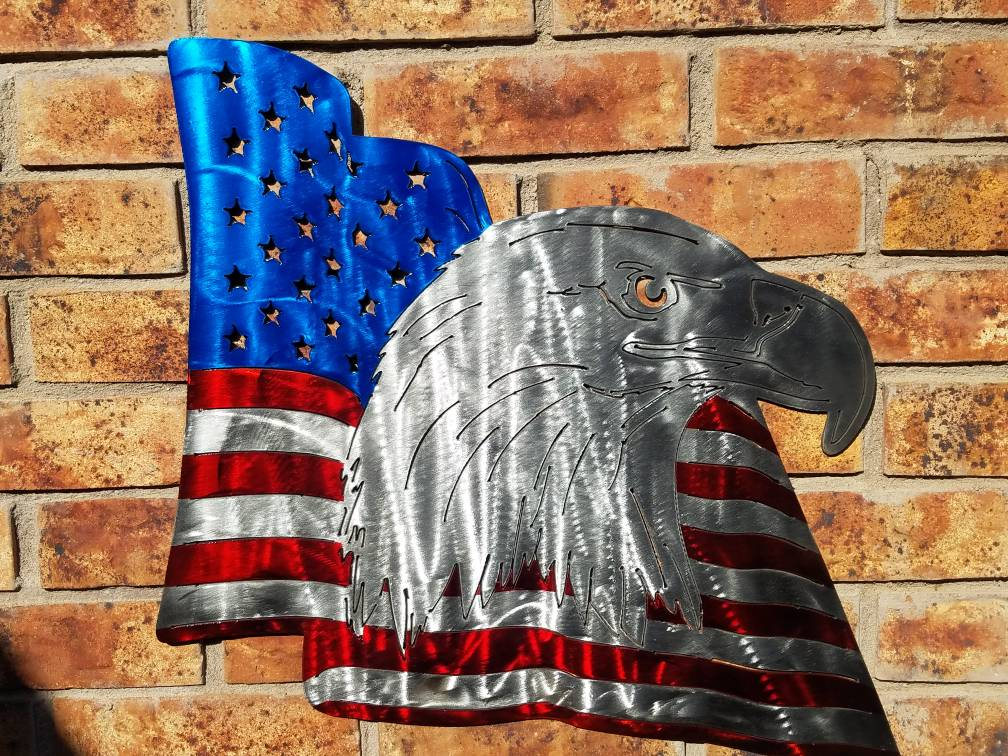 America bald eagle american flag metal candy red blue for Painted american flag wall art