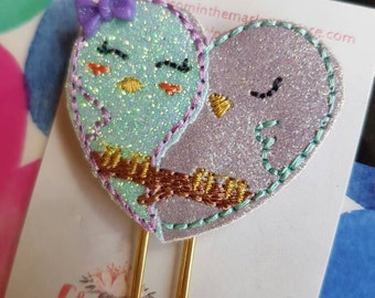 Love Birds Paper Clip - Mint and Lilac