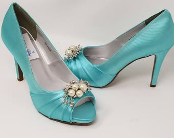 Blue Wedding Shoes with Pearl and Crystal Design Blue Bridal Shoes - Over 100 Color Choices Dyeable Bridal Shoes Bridesmaid Shoes