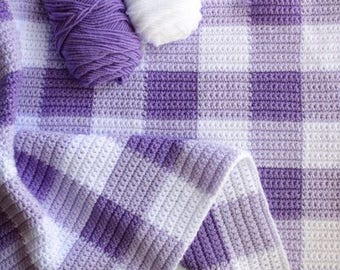 Crochet Purple Gingham Blanket Pattern - Daisy Farm Crafts