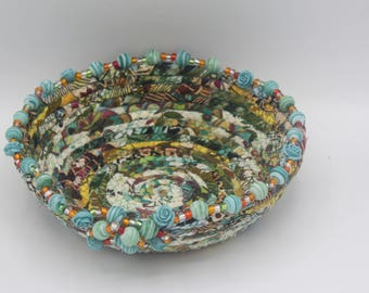 Beautiful turquoise beaded, multicolored, coiled fabric basket