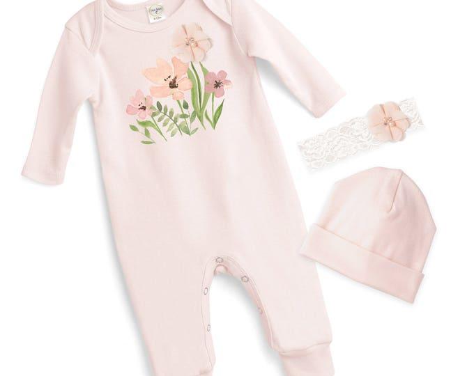 Baby Girl Pink Romper Headband, Newborn Girl Come Home Pink Outfit, Floral Romper Headband, Newborn Baby Girl Clothes Tesababe 59LCIY-CN20PP