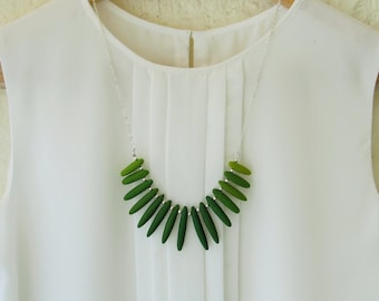 Green beaded statement necklace. Silver tone chain necklace Green bib Large beaded Polymer clay Green grass colors Nature green Minimalist