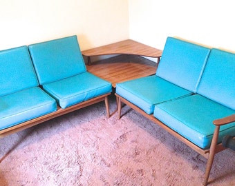 RESERVED FOR FLO Mid Century 3 Piece Teak Sectional Set Two Sofas And Table  Aqua Vinyl   S