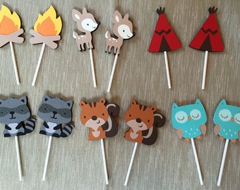 Free Shipping and READY TO SHIP Forest Creatures & Camping Cupcake Toppers