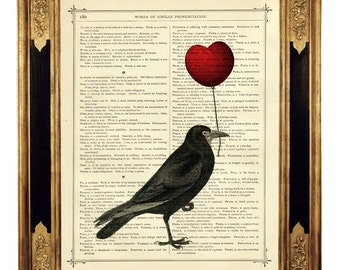 Raven Crow Art Print red Heart Balloon Valentine's Day Gothic Love  - Vintage Victorian Book Page Art Print Steampunk Poster