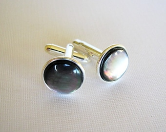 Black Mother Of Pearl Cufflinks in Silver Plated Settings - For Formal Events / Special Occasions, Beach / Coastal Weddings