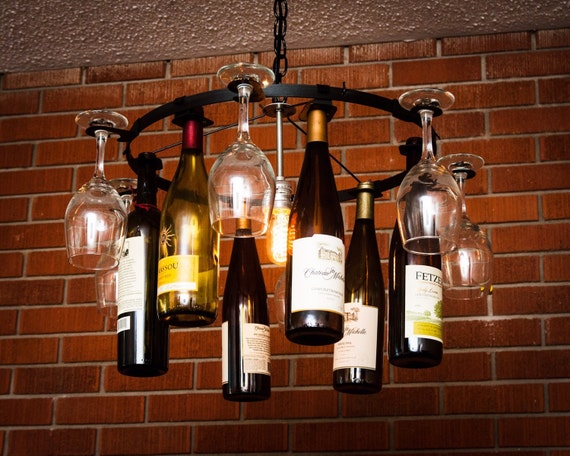 Wine glass bottle chandelier wine rack light lighting wine aloadofball Images