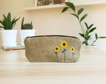 Burlap Pencil Case With Sunflower Embroidery, cool pencil case, pouch, burlap pouch, cute pencil case