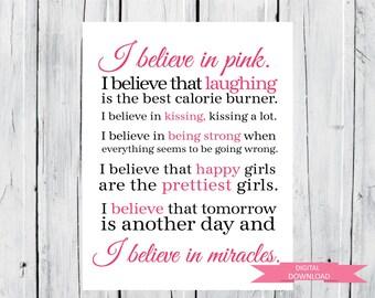 I Believe in Pink Print Audrey Hepburn Quotes Digital Download PDF