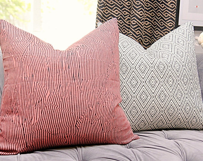 Kelly Wearstler - Avant in Salmon and Black Pillow Cover - Modern Geometric Pillow Cover