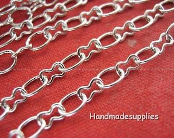 x 2 m chain links in silver, 4.5x3.5 mm retro (BOBFA)