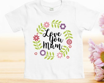 Love you mum tshirt, mothers day tshirt, Mother's Day Tshirts, funny designs for baby, mother day gift, custom baby clothes, baby onesies