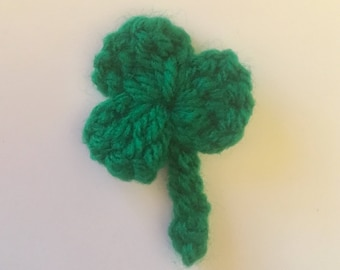 Shamrock Crochet Badge Brooch for St Patrick's Day